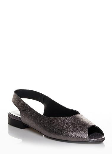 Efem Deri Sandalet Gümüş